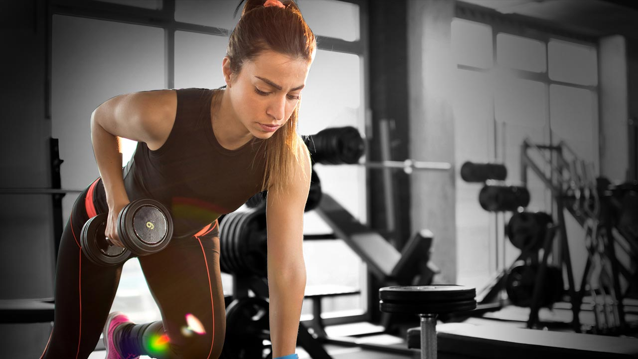 girl working out in gym