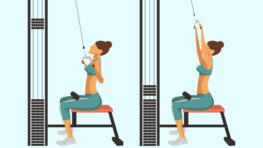 Gym upper body exercise: Lat pull-down