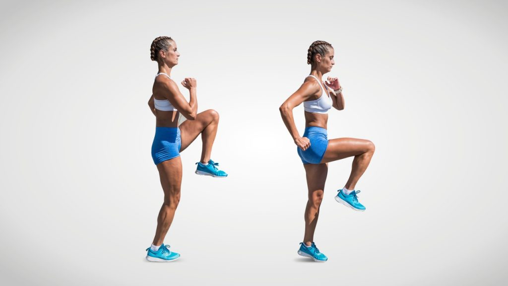 Dynamic stretches for runners: High knee skips