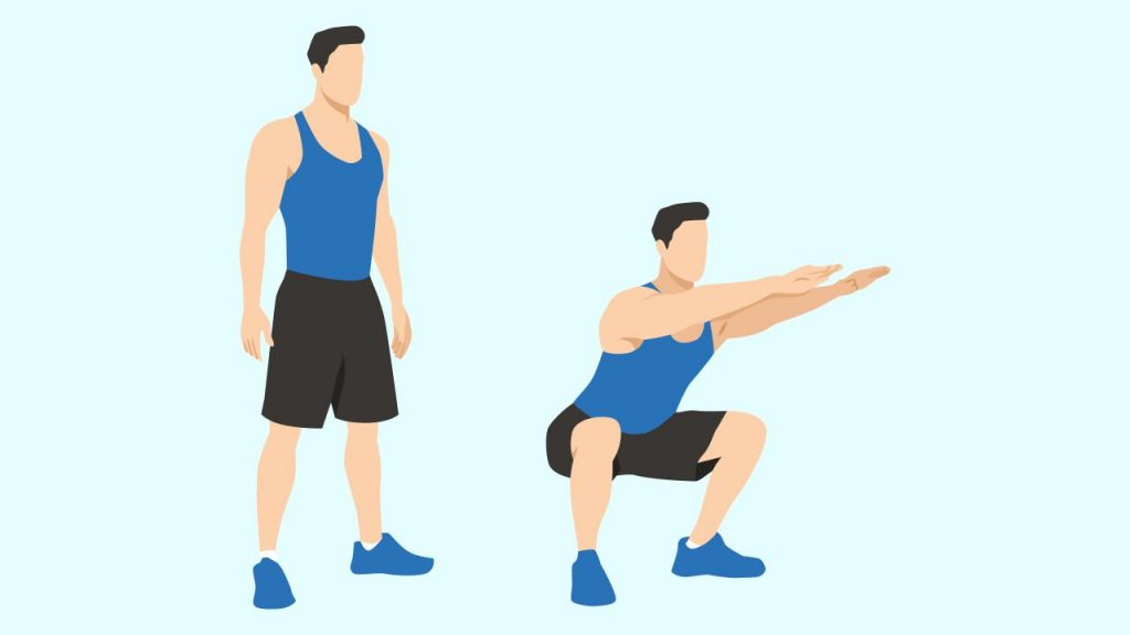 Gym lower body exercise: Squats