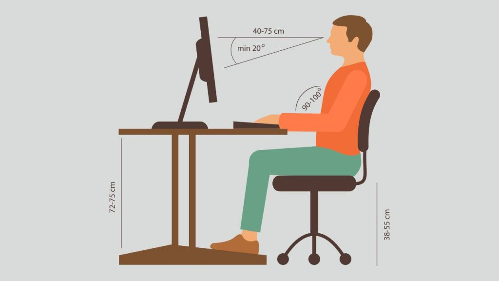 correct posture while sitting at work