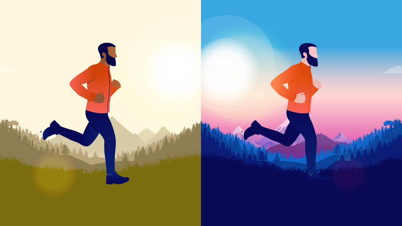 running in the morning or evening