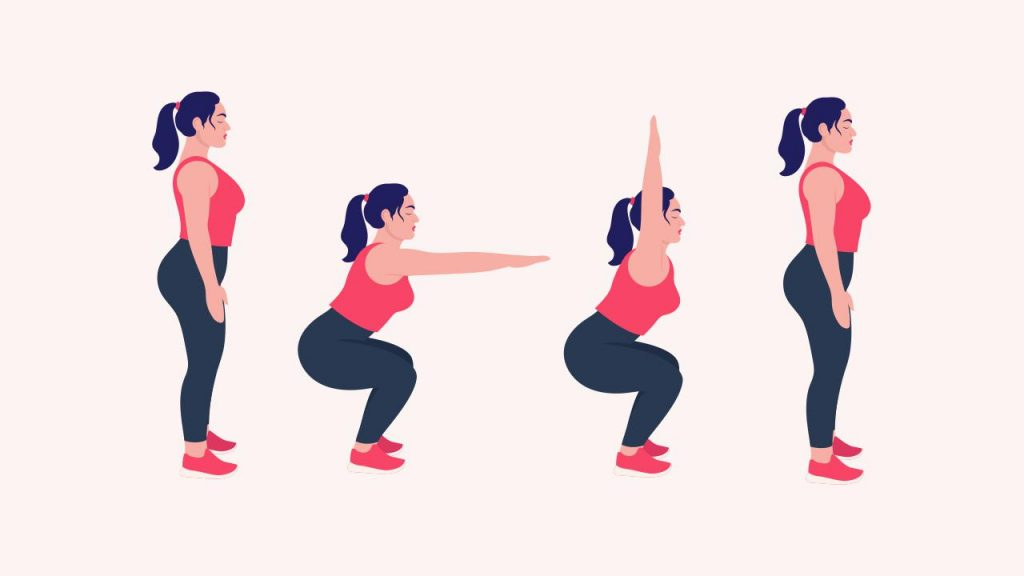 Exercise for losing love handles: Squats with overhead arm extension