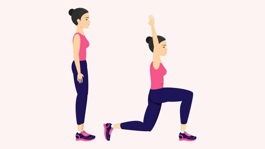 Exercise for losing love handles: Lunges with arms extended overhead