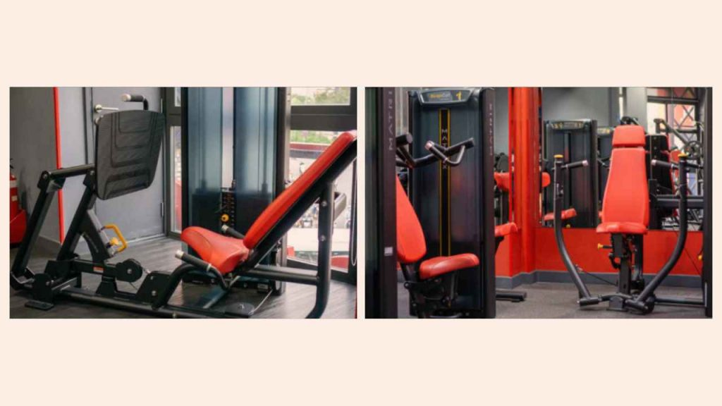 Example equipment for seated leg press (A) and seated chest press (B) exercises