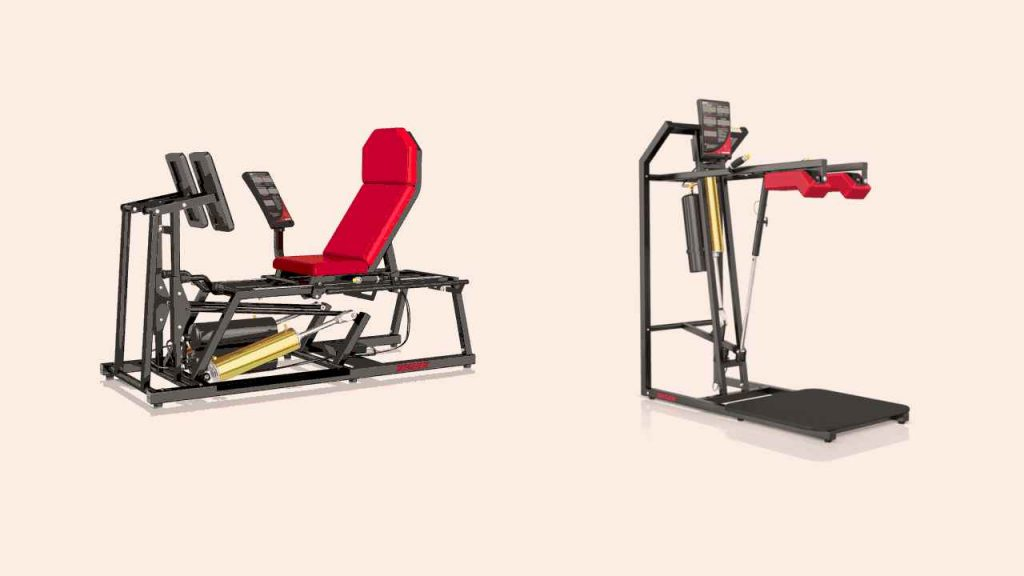 Examples of pneumatic systems for seated leg press (A) and squats (B)