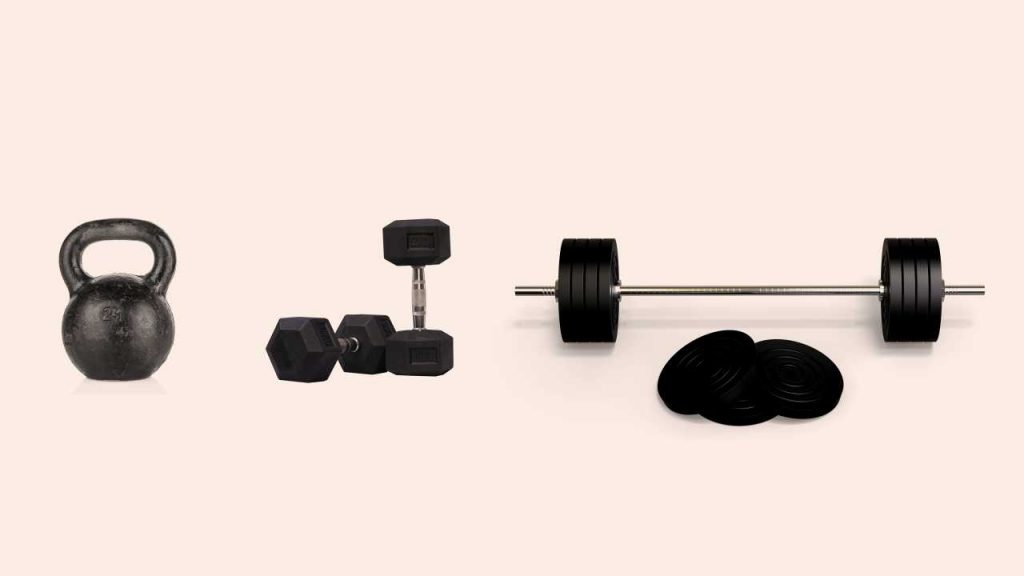 Examples of free-weights including kettlebells (A), dumbbells (B), and barbells (C)
