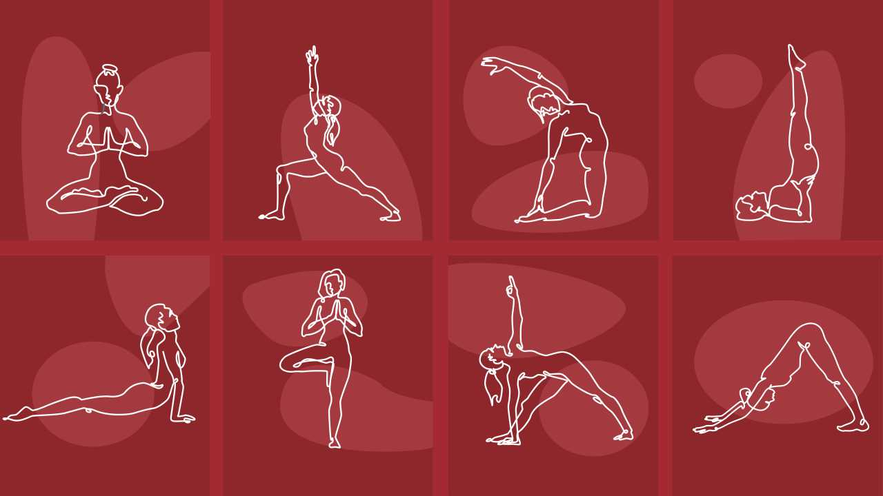 A woman performing different sets of yoga poses